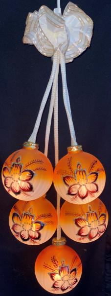 """Leuchtgehänge """"Braune Blüte"""" orange 5-telig"""