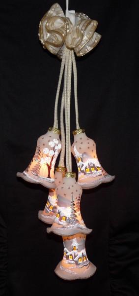"""Leuchtgehänge Kelche 5-teilig """"Delft"""" braun"""